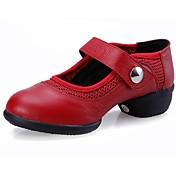 """Mujer Zapatillas de Baile Cuero Zapatilla Tacón Bajo Negro Rojo 1 """"- 1 3/4"""" No Personalizables"""