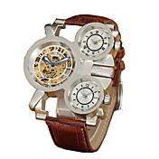 男性 スケルトン腕時計 機械式時計 耐水 透かし加工 3タイムゾーン 自動巻き レザー バンド ラグジュアリー ブラック ブラウン