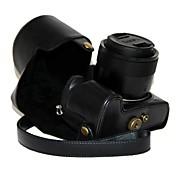 cámara de cuero dengpin pu funda protectora cubierta de la bolsa con correa para el hombro para Lumix Panasonic DMC-fz1000 fz1000