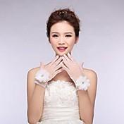 ビーズのasg20と花アイボリーチュール指先手首の長さの結婚式の手袋を
