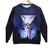 Men's Cotton Long Sleeve Galaxy Tiger Printed Autumn Sport Sweatshirts