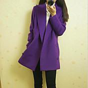 la moda de manga larga de color sólido abrigo casual TNL mujeres