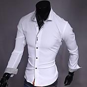 Obično Muška Majica Ležerne prilike,Pamuk / Poliester Dugih rukava Crna / Ružičasta / Bijela
