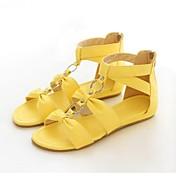 Mujer Zapatos Semicuero Primavera / Verano Tacón Plano Cremallera Blanco / Rojo / Amarillo