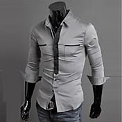 Camisa De los hombres A Rayas / A Cuadros / Un Color Casual-Mezcla de Algodón-Manga Larga-Azul / Rojo / Blanco / Gris