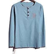 Camiseta De los hombres Estampado-Casual / Tallas Grandes-Lino-Manga Larga-Azul