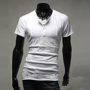 男性用 プレイン カジュアル Tシャツ,半袖 コットン,ブラック / ブルー / ホワイト / グレー