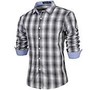 Camisa De los hombres A Cuadros / Un Color Casual-Algodón-Manga Larga-Negro / Azul / Rojo