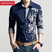 Camisa De los hombres Estampado Casual / Trabajo / Formal / Deporte / Tallas Grandes-Algodón / Poliéster-Manga Larga-Negro / Azul /