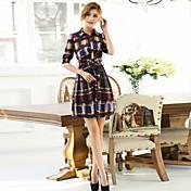 膝のドレス(ポリエステル/綿混)上記の女性のプリント/パーティーマイクロ弾性½長袖