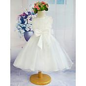 Una línea de longitud de rodilla vestido de niña de flor - de poliéster de cuello joya sin mangas de tul con cinta