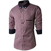 Camisas Casuales (Algodón Manga Larga para Hombre