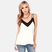 De las mujeres Simple Casual/Diario Verano Camisa,Con Tirantes Bloques Sin Mangas Multicolor Translúcido