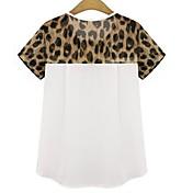 婦人向け カジュアル/普段着 春 Tシャツ,シンプル ラウンドネック レオパード / パッチワーク ホワイト / ブラック コットン 半袖 薄手