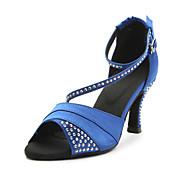 Mujer Zapatos de Baile Latino / Salón Satén Sandalia Cristal Tacón Personalizado Personalizables Zapatos de baile Azul / Morado / Cuero