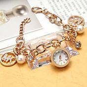 Mujer Reloj de Moda Simulado Diamante Reloj Reloj Pulsera Cuarzo La imitación de diamante Acero Inoxidable Banda ElegantesPlata Dorado