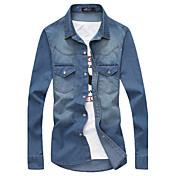 メンズ カジュアル/普段着 プラスサイズ オールシーズン シャツ,セクシー シャツカラー ソリッド コットン 長袖 ミディアム