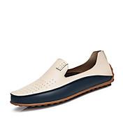 Hombre Zapatos Cuero de Napa Primavera Verano Otoño Invierno Confort Zapatos De Buceo Zapatos de taco bajo y Slip-On Remache Para Casual