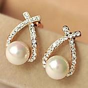 estilo europeo estilo rhinestone crossover perla pendientes estilo elegante