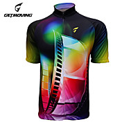 GETMOVING 男性用 女性用 半袖 サイクリングジャージー - レッド バイク ジャージー, 速乾性, 人間工学デザイン, 抗紫外線, 高通気性
