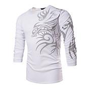 Camiseta De los hombres Estampado-Casual / Trabajo / Formal / Deporte / Tallas Grandes-Poliéster / Espándex-Manga Larga-Negro / Blanco