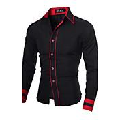 男性用 ストライプ / プレイン カジュアル / オフィス / プラスサイズ シャツ,長袖 コットン混 ブラック / ブルー / レッド / ホワイト / グレー