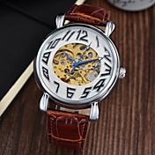 男性 リストウォッチ 機械式時計 クロノグラフ付き 耐水 自動巻き レザー バンド ラグジュアリー ブラック ブラウン