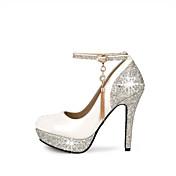 女性用 靴 レザーレット 春 夏 スティレットヒール プラットフォーム ベックル のために 結婚式 ドレスシューズ パーティー ホワイト ブラック レッド