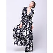 Corte en A Cuello en V Hasta el Tobillo Raso Evento Formal Vestido con Diseño / Estampado por TS Couture®