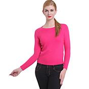 Mujer Regular Pullover Vintage,Un Color Rosa Rojo Cuello Barco Manga Larga Algodón Lino Otro Invierno Grueso Microelástico