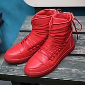 Hombre-Tacón Plano-Confort Botas a la ModaExterior Oficina y Trabajo Informal Deporte-Semicuero-Negro Rojo Blanco
