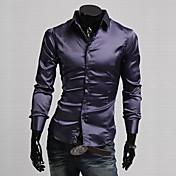 Camisa De los hombres Un Color Casual / Trabajo / Formal-Seda / Poliéster-Manga Larga-Negro / Morado / Rojo