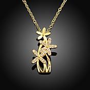 xu™女性の花のダイヤモンド18kゴールドメッキネックレスエレガントなスタイル