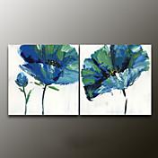 手描きの 花柄/植物のModern 2枚 キャンバス ハング塗装油絵 For ホームデコレーション