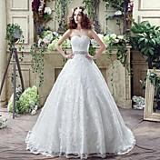 Salón Escote Corazón Corte Encaje Vestido de novia con Cristal Cuentas Encaje Diseño Volante Lazo En Cruz por LAN TING BRIDE®
