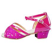Mujer Zapatos de Baile Latino Aterciopelado / Sintético / Satén Sandalia Tacón Bajo No Personalizables Zapatos de baile Rosa / Plata / Oro