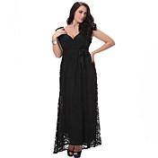 vestido suelto / swing de la playa de las mujeres de curvas dulces, sólida profunda v midi sin mangas de la primavera de poliéster negro
