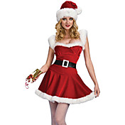 サンタスーツ コスプレ衣装 パーティーコスチューム 女性用 クリスマス ハロウィーン イベント/ホリデー ハロウィーンコスチューム レッド ソリッド
