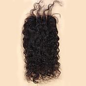 10-20inch Negro Natural (#1B) Unido a Mano Ondulado Amplio Cabello humano Cierre Castaño mediano Encaje Suizo 20-60g gramoTallas pequeñas