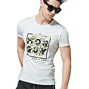 Camiseta De los hombres Estampado-Casual / Trabajo / Formal-Algodón / Espándex-Manga Corta-Azul / Blanco