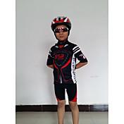 GETMOVING 半袖 ショーツ付きサイクリングジャージー - レッドブラック 黒/赤 バイク ショートパンツ ジャージー 洋服セット, 人間工学デザイン, 高通気性