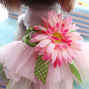 Perro Vestidos Ropa para Perro Moda Boda Flor Rosa Disfraz Para mascotas