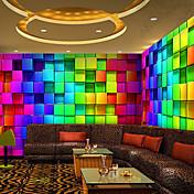3d efecto de cuero brillante gran fondo de pantalla mural de arte colorido rejilla papel de la pared decoración de la pared