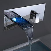 現代風 壁式 LED / 滝状吐水タイプ with  セラミックバルブ シングルハンドル二つの穴 for  クロム , 浴槽用水栓 / バスルームのシンクの蛇口