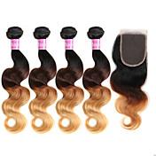 Trama do cabelo com Encerramento Cabelo Brasileiro Onda de Corpo 18 Meses 4 Peças tece cabelo