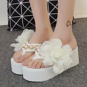 Mujer Zapatos Tejido Primavera Verano Otoño Plataforma Flor de Satén Para Vestido Blanco Negro Rosa