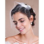 1 capa Crudo Velos de Boda Corto o Blusher / Velo para cabello corto / Accesorios de cabello para velo Con Perla Tul