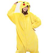 Pijama kigurumi Pika Pika Pijama Mono Pijamas Disfraz Vellón de Coral Amarillo Cosplay por Adulto Ropa de Noche de los Animales Dibujos