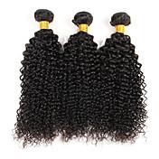 Cabello humano Cabello Brasileño Tejidos Humanos Cabello Rizado rizado Ondulado Extensiones de cabello 3 Piezas Color natural