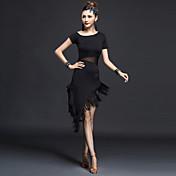 ラテンダンス ワンピース 女性用 演出 ナイロン 1個 半袖 ハイウエスト ドレス